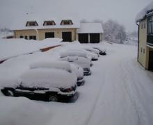 Zima na Lipně - penzion U lípy - parkoviště
